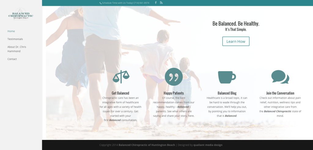 First Website Launch for Balanced Chiropractic HB